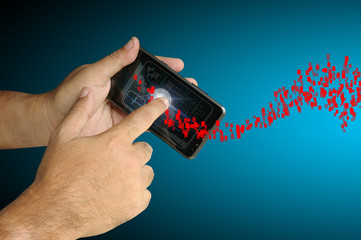 Hand of Business man touch smart phone