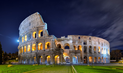 Colosseum at night in the moonlight
