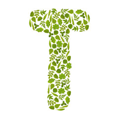 Letter T from green leafs