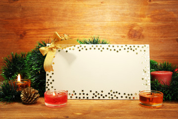 beautiful Christmas composition with empty postcard