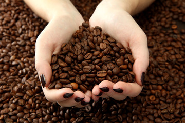 female hands with coffee beans, close up