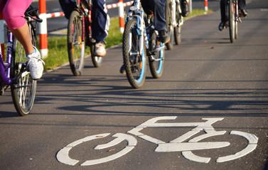 Fototapeta Bicycle road sign on asphalt obraz