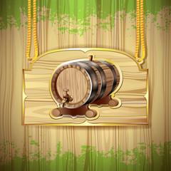 Wood barrel for wine over wood background