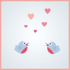 Love bird in the air- Valentine's day, light pink, couple