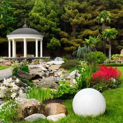 Spring flowers in the Asian garden