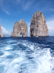 Famous rock formations at Capri shore, Italy