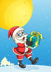 a santa claus and gift box