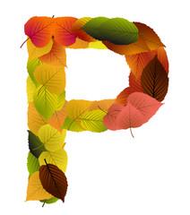 Buchstabe aus Blättern - P