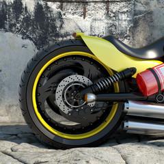 bike wheel close up 3d illustration