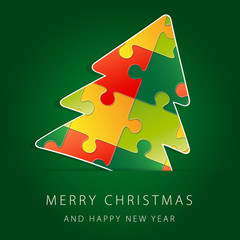 Greeting card Merry Christmas with green background