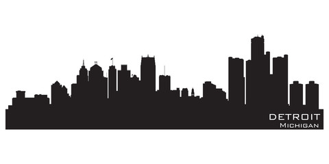 Fototapete - Detroit, Michigan skyline. Detailed vector silhouette