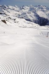 Fresh ski track at Soelden glacier