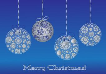 Christmas card with christmas ornament