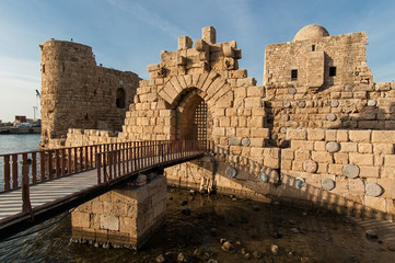The main gate of the Crusader Castle in Sidon, Lebanon