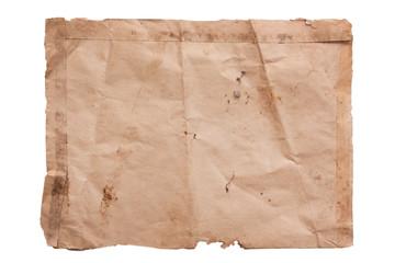 Wrinkled old paper on white