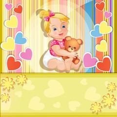 Baby shower card with cute baby girl