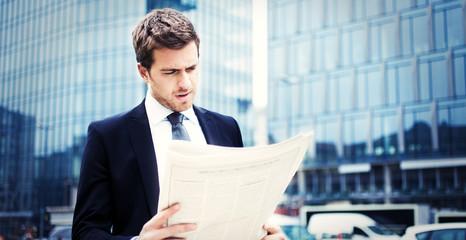 Man reading a newspaper