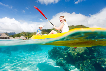 Wall Mural - Mother and son kayaking