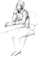 a sketch of not young man of being at a table