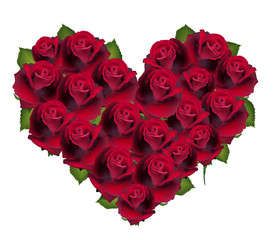 Heart from llower rose, card about love