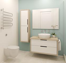 Modern bathroom interior.