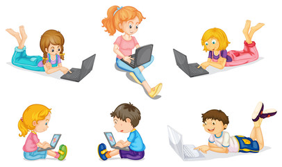 a laptop and kids
