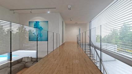 Galerie Glas Parkett in moderner Villa