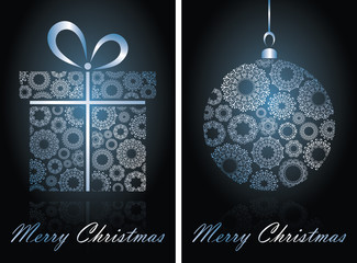 Christmas cards with ball on blue background
