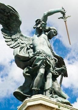 Saint Michael angel statue in Castel Sant'Angelo, Rome, Italy