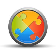 Puzzle button, colorful concept
