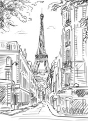 Fotorolgordijn Illustratie Parijs Street in paris - illustration