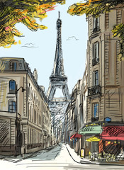 Photo on textile frame Illustration Paris Street in paris - illustration
