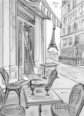 Photo on textile frame Illustration Paris Street in paris -sketch illustration