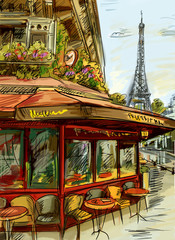 Photo on textile frame Illustration Paris Paris street - illustration