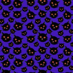 Halloween seamless pattern: black cats
