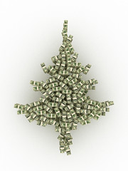 Dollars banknotes made as Christmas tree on blue background