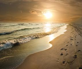 Golden Sunset On The Sea Shore