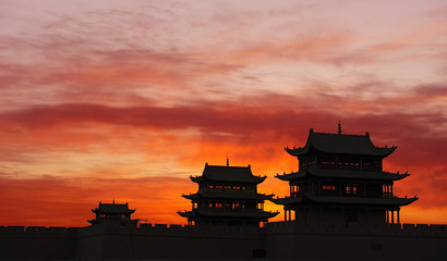 Sunrise of the Jiayuguan Pass Tower in GanSu,China