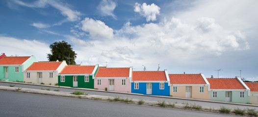 Panorama of colorful row homes