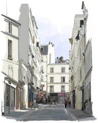 Photo sur Aluminium Art Studio street near Montmartre in Paris