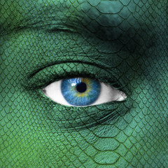 Human face with dragon skin texture