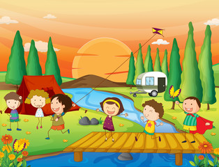 Foto op Plexiglas Rivier, meer kids playing in nature