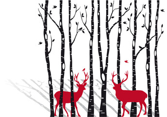 Papiers peints Rouge, noir, blanc birch trees with christmas deers, vector