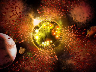 Abstract planet space with asteroids condense to new planet.