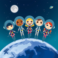 Deurstickers Kosmos Children Astronaut Dream