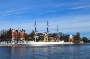 Sailing ship at the Skeppsholmen Island in winter, Stockholm.