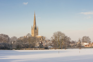 Norwich Cathedral in winter