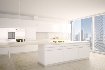 Modern Kitchen with City View