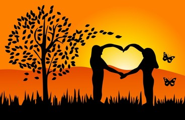Man and woman making heart shape - romantic nature