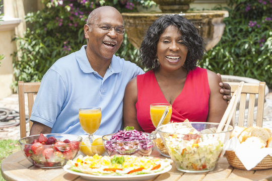 Senior African American Couple Healthy Eating Outside
